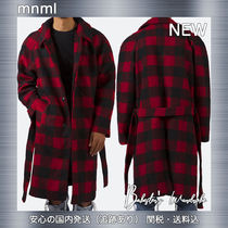 MNML Other Check Patterns Street Style Long Trench Coats