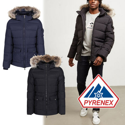 Short Nylon Street Style Plain Oversized Logo Down Jackets