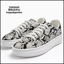 TOPSHOP Casual Style Faux Fur Python Low-Top Sneakers
