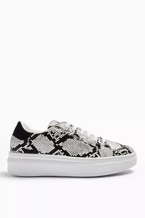 Casual Style Faux Fur Python Low-Top Sneakers