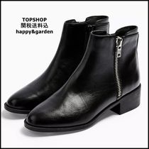 TOPSHOP Round Toe Casual Style Plain Leather Block Heels Party Style