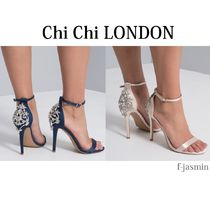 Chi Chi London Open Toe Plain Pin Heels Party Style With Jewels Shoes