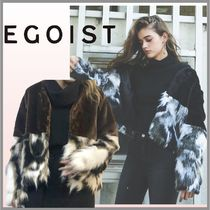 EGOIST Short Faux Fur Blended Fabrics Plain Varsity Jackets