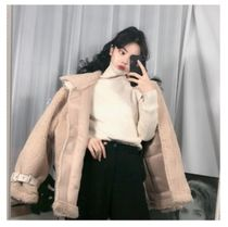 Stand Collar Coats Casual Style Unisex Suede Faux Fur