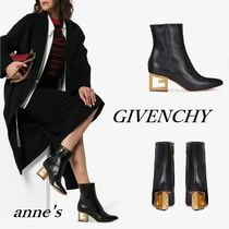 GIVENCHY Casual Style Plain Leather Block Heels Party Style