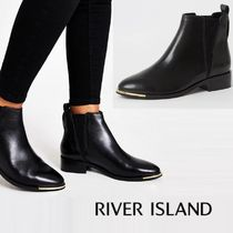River Island Plain Toe Casual Style Plain Leather Block Heels