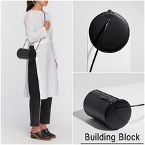 Building Block Casual Style 2WAY Plain Leather Shoulder Bags