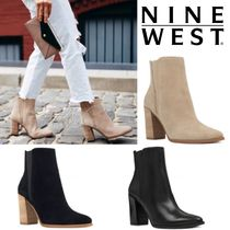 Nine West Casual Style Suede Blended Fabrics Plain Leather Block Heels