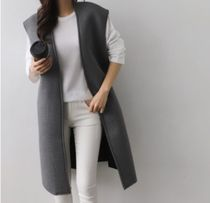 Casual Style Plain Long Office Style Vest Cardigans