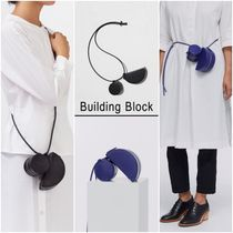 Building Block Casual Style 3WAY Plain Leather Shoulder Bags