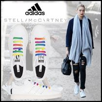 adidas by Stella McCartney Stripes Star Round Toe Lace-up Casual Style Unisex Faux Fur