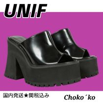 UNIF Clothing Open Toe Platform Casual Style Plain Leather Block Heels