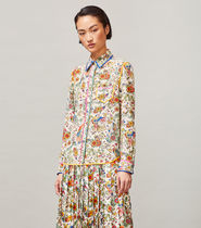 Tory Burch Flower Patterns Silk Long Sleeves Other Animal Patterns