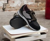 M. MOUSTACHE Casual Style Suede Street Style Logo Low-Top Sneakers