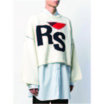 RAF SIMONS Crew Neck Cable Knit Wool Street Style Long Sleeves Logo