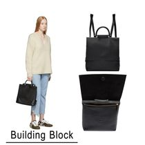 Building Block Casual Style 3WAY Plain Leather Backpacks