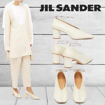 Jil Sander Square Toe Casual Style Plain Leather Block Heels