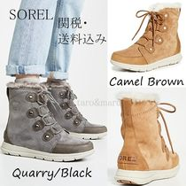 SOREL Round Toe Lace-up Casual Style Suede Faux Fur Street Style
