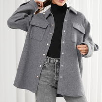 & Other Stories Casual Style Wool Long Sleeves Plain Shirts & Blouses
