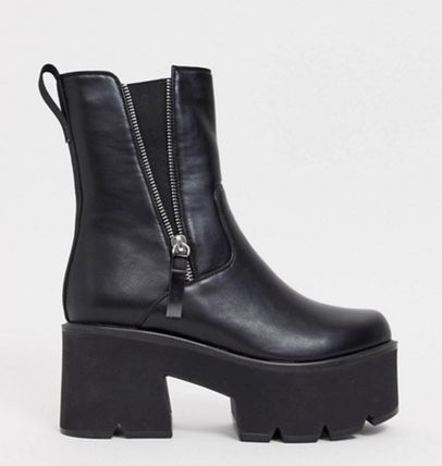 ASOS Casual Style Plain Chunky Heels Boots Boots