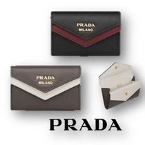 PRADA Saffiano Bi-color Plain Card Holders
