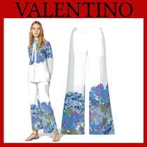 VALENTINO Flower Patterns Casual Style Silk Long Office Style