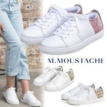 M. MOUSTACHE Zigzag Casual Style Suede Street Style Plain Leather
