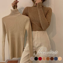 Casual Style Rib Long Sleeves Plain Cotton Medium