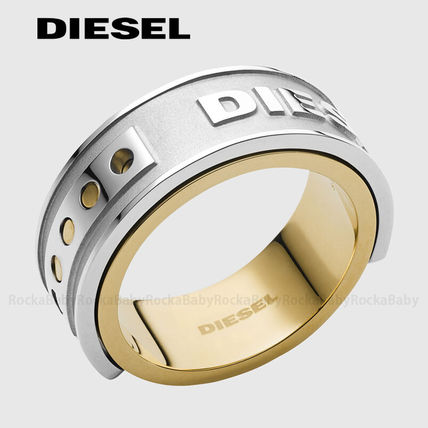 Street Style Bi-color Plain Stainless Rings