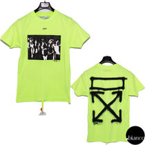 Off-White Crew Neck Unisex Street Style Cotton Short Sleeves Logo