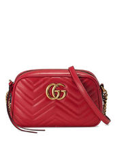 GUCCI GG Marmont Casual Style Calfskin Chain Plain Leather Party Style