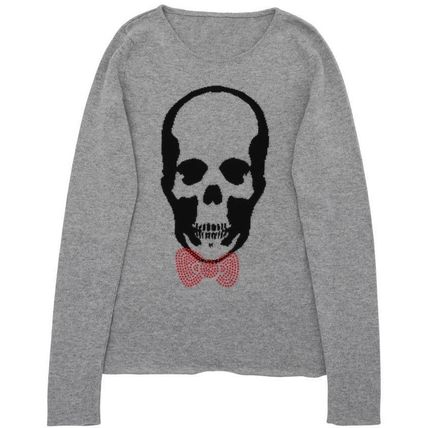 Skull Casual Style Cashmere Collaboration Long Sleeves