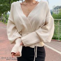 Casual Style Nylon Long Sleeves Plain Medium Cardigans
