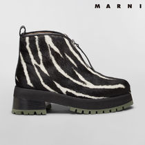 MARNI Zebra Patterns Round Toe Rubber Sole Casual Style Leather