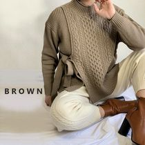 Cable Knit Casual Style Rib Street Style V-Neck Long Sleeves
