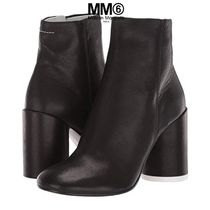 MM6 Maison Margiela Round Toe Casual Style Plain Leather Block Heels Party Style