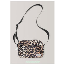 Ganni Leopard Patterns Nylon Shoulder Bags
