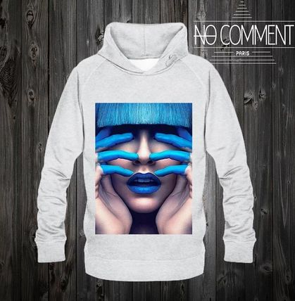 NO COMMENT PARIS Hoodies Pullovers Unisex Street Style Long Sleeves Cotton Logo 2