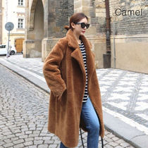 Casual Style Plain Medium Long Oversized Elegant Style