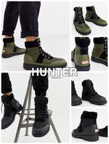 HUNTER Mountain Boots Unisex Faux Fur Street Style Plain Logo