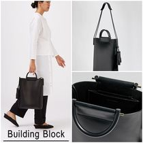 Building Block Casual Style 2WAY Plain Leather Office Style Totes