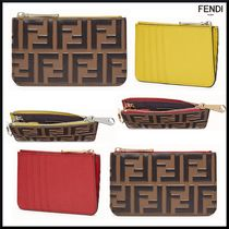 FENDI Unisex Calfskin Chain Plain Keychains & Bag Charms