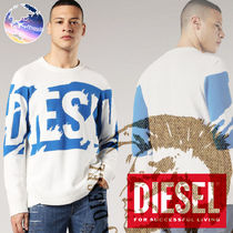 DIESEL Crew Neck Pullovers Street Style Bi-color Knits & Sweaters