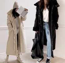 Casual Style Plain Long Parkas