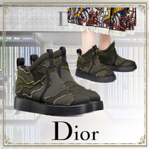 Christian Dior Camouflage Rubber Sole Casual Style Ankle & Booties Boots