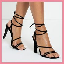 Lipsy Open Toe Lace-up Plain Party Style Chunky Heels