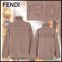 FENDI Monogram Casual Style Wool Rib Long Sleeves Plain Medium
