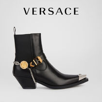 VERSACE Casual Style Street Style Chain Plain Leather