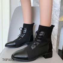 Square Toe Lace-up Casual Style Faux Fur Blended Fabrics