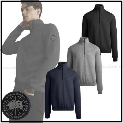 CANADA GOOSE Sweaters Wool Long Sleeves Plain Logos on the Sleeves Logo Sweaters